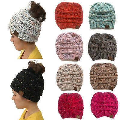 Women's Beanie Ponytail Messy Bun BeanieTail Multi Color Ribbed Winter Hat Cap