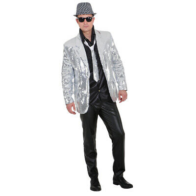 new style af433 caac0 SHOWJACKET PAILLETTES GIACCA Uomo Argento Giacca Glitzerjacke Showmaster  Glitter