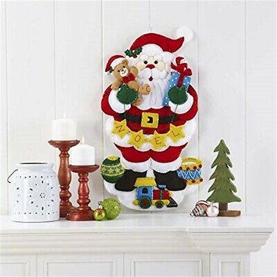 "Bucilla Felt Wall Hanging Applique Kit 13""x23.5""-noel Santa"