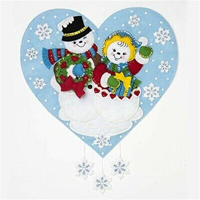 "Bucilla Felt Wall Hanging Applique Kit 15""x18""-snowman Love"