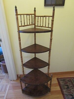 "Antique Scorched Bamboo & Maple wood Etagere Display 5 shelf Unit corner 55"" H"