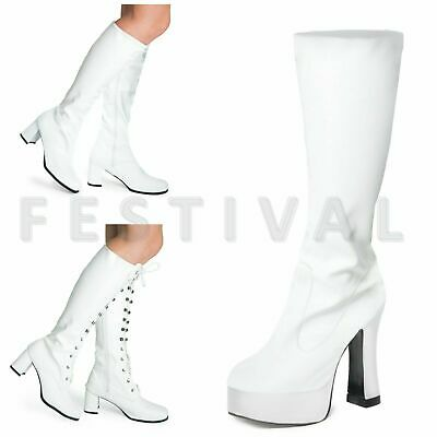 Womens Ladies Mens White  Knee High Eyelet Platform Disco Fancy Dress Boots