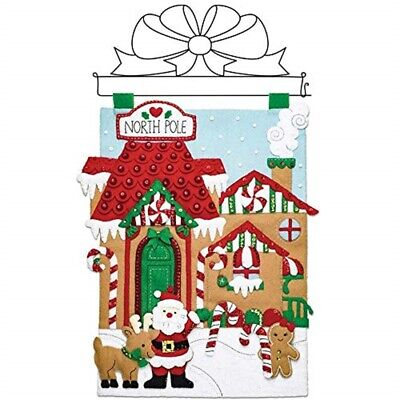 "Bucilla Felt Wall Hanging Applique Kit 15""x15""-north Pole Village"