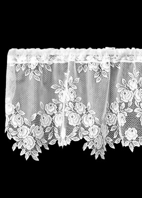 "Heritage Lace White TEA ROSE Window Valance 60""x17"""