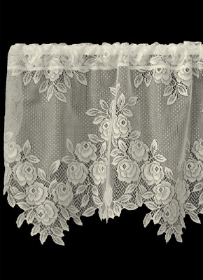 "Heritage Lace Ecru TEA ROSE Window Valance 60""x17"""