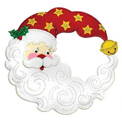 "Bucilla Felt Wreath Applique Kit 15""x15""-crescent Moon Santa"