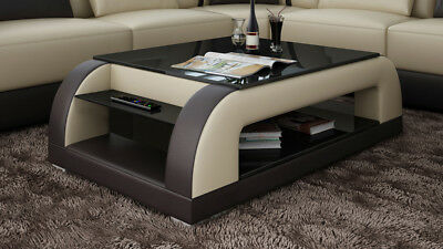 CUIR TABLE BASSE Moderne Table Table Design Tables Verre ...