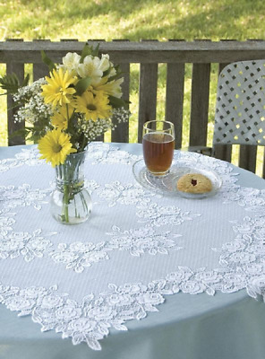 "Heritage Lace White  TEA ROSE 42"" Table Topper"