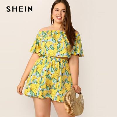 70c3a33bf7 SHEIN Plus Size Yellow Off Shoulder Banana Print Flounce Sleeve Crop Top  And Sho