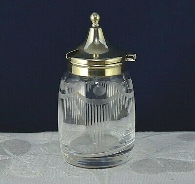 Old Mustard Pot Glass Silver Plated Hinged Lid Vintage Antique EPNS Table