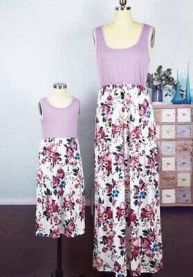 USA Mommy and Me Family Matching Dress Mother Daughter Floral Maxi Dress 2T