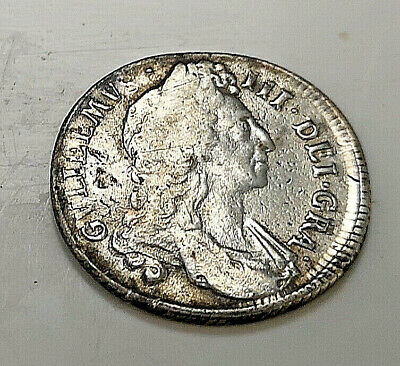 1696 SOLID SILVER Shilling Coin Antique English Rare King William Royal Mint UK