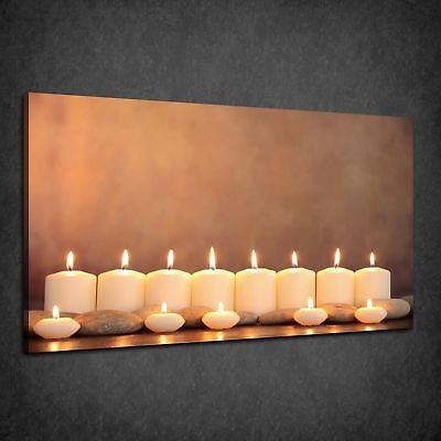 Beautiful Relaxing Row Of Candless Spa Zen Box Canvas Print Wall Art Picture