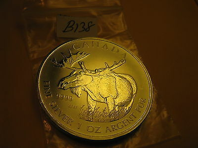 Canada Wildlife Moose 2012 1 OZ Fine Silver $5 Coin  ID#B24.