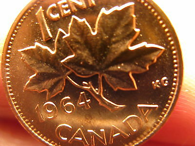 CANADA 1964 EXTRA Spine Penny Small Cent Rare Variety Gem BU Coin ID#B1091