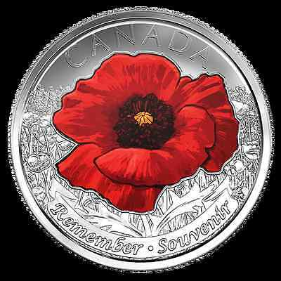 Canada 2015 WWII Coloured Remembrance Day Flanders Fields Poppy 25 Cent Coin.