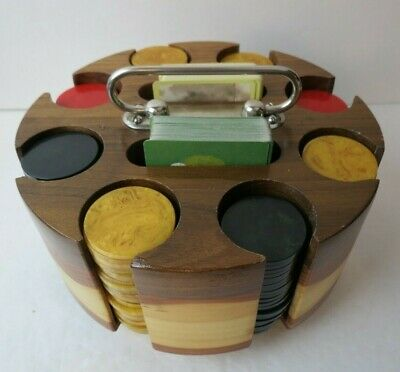 Deco Wood Poker Chip Carousel & 185 Catalin Marble Chips Red Butterscotch Green