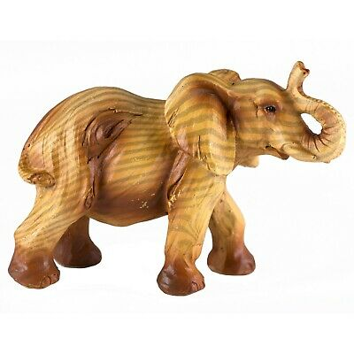 Small Elephant Faux Carved Wood Look Figurine Resin 4 Inch Long New!