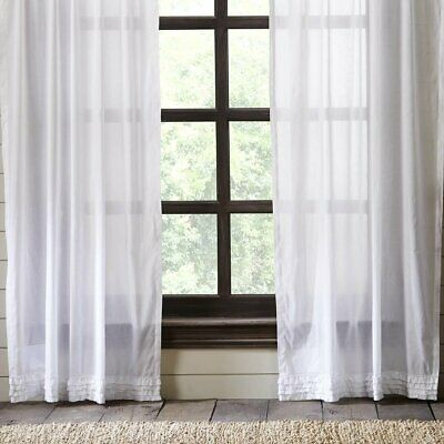 VHC Brands White Ruffled Cotton Rustic Primitive FARMHOUSE COUNTRY Curtains
