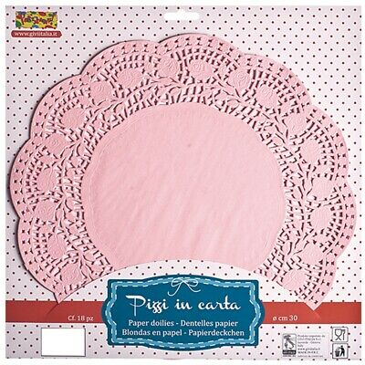 Givi Italia Doilies Round 37cm Pink 12's - Party Paper Lace Cake Plates Trays