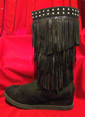 Girls Black Embellished Fringe Boots from Justice Sz 7 Faux Suede - Rhinestones