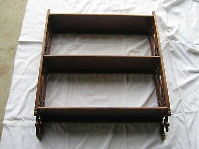 A Lovely Victorian 1900's Timber 3 Shelf Filigree Sided Wall Mount Whatnot Shelf