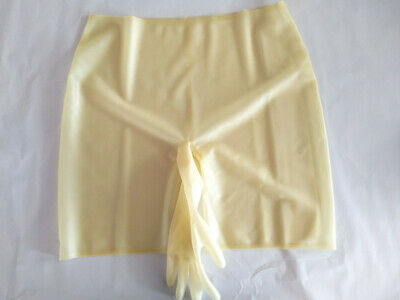 New 100% Latex Rubber Transparent Shorts Cool with gloves 0.4mm Fixed Men 2XL