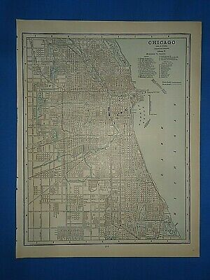 Vintage 1891 CHICAGO, ILLINOIS Map Old Antique Original Atlas Map