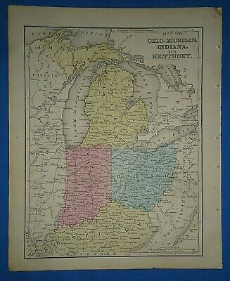 Vintage 1866 MICHIGAN - KENTUCKY - OHIO MAP Old Antique Original Atlas Map