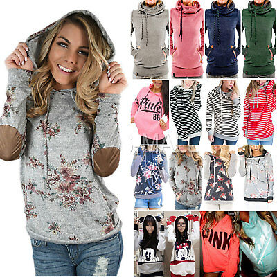 Womens Long Sleeve Hoodie Sweatshirt Sweater Hooded Pullover Jumper Tops Blouse