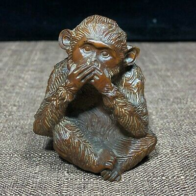 Chinese Collectible Old Boxwood Cover Mouth Monkey Solid Wood Ornament Statue