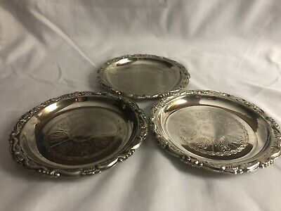 Vintage Embossed Silver Plated Ep On Steel Coasters Made In Italy