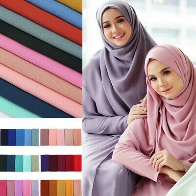Women's Long Solid Scarf Muslim Hijab Jersey Stole Pashmina Shawl Wraps Decor