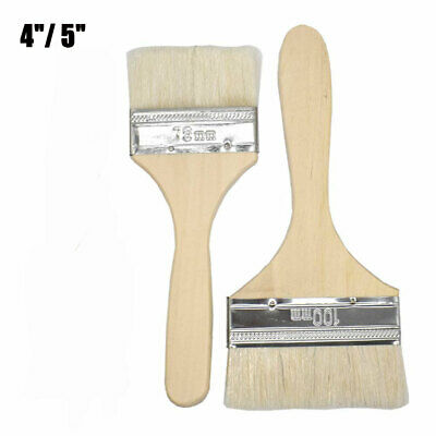 "Wool Paint Brushes Small - Large 4"" - 5"" Wide Wood Decorator Brush Tool Set"