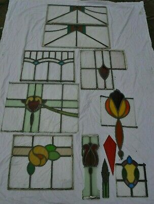 For spares/restoration 11 leaded light stained glass window pieces/parts. S928