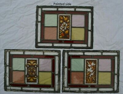 3 handpainted kiln fired leaded light stained glass window panels. R750