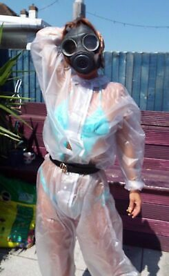 Sexy PVC Overalls Transparent clear Rain wear fetish see through outfit Unisex