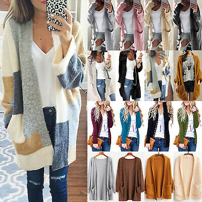 Womens Winter Baggy Cardigan Coat Knitted Oversized Sweater Jumper Jacket Top