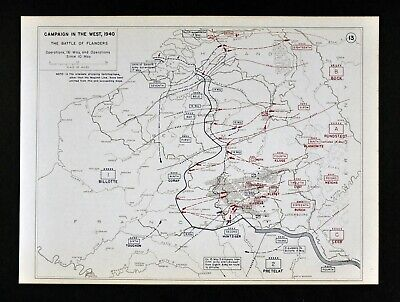 West Point WWII Map - Battle of Flanders  Holland Belgium France May 10-16 1940