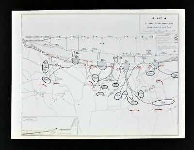 West Point WWII Map 5th Corps D-Day Operations Omaha Beach Infantry Assault 1944