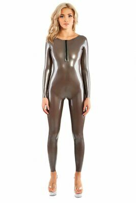 Latex Catsuit Rubber Gummi Sliver Open Sexy Back Suit Club Wear Customized .4mm