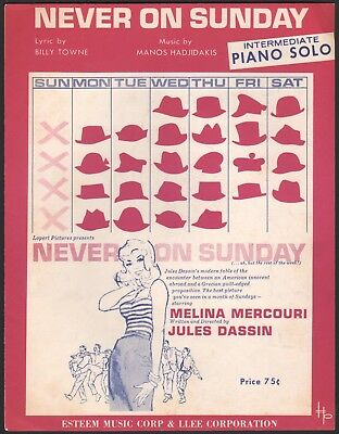 MANOS HADJIDAKIS film theme NEVER ON SUNDAY piano solo MELINA MERCOURI 1960