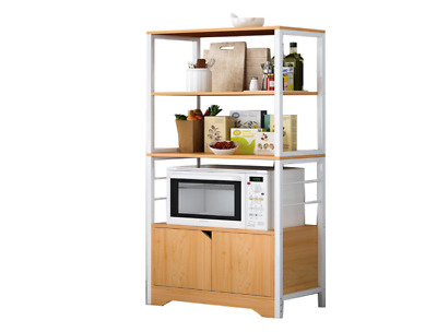 Metal Frame Kitchen Storage Microwave Cabinet Shelf Oak Drawer Shelving Rack New