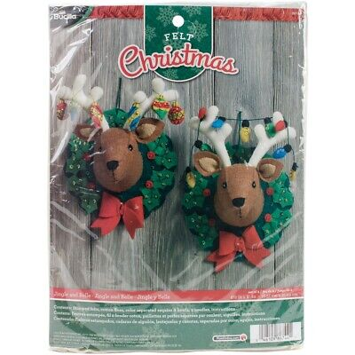 "Bucilla Felt Wall Hanging Applique Kit 6.5""x8.5"" Set Of 2-jingle & Belle"