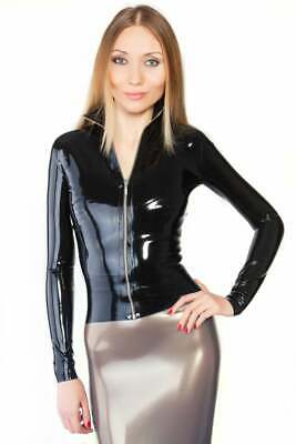 Latex Catsuit Rubber Gummi Casual Female Cool Jacket Front Zipper Customize .6mm