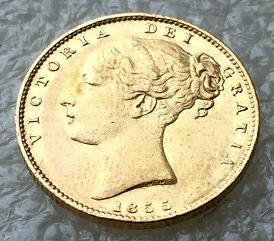 1855 Victoria shield full sovereign  wide date  @hg8