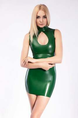 Latex Catsuit Rubber Gummi Green High Neck Jumpsuit Deep Chest Customized 0.4mm