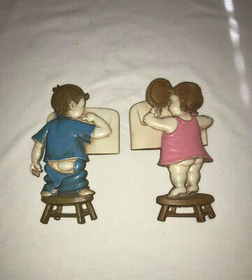 Vintage Sexton 1966   Set of 2 Girl and Boy In Bathroom Metal Wall Plaques. 9""