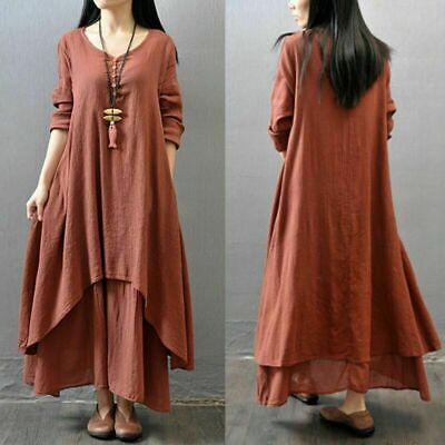 8533a5f68853 Sexy Women Ethnic Peasant Cotton Boho Linen Long Sleeve Maxi Dress Gypsy  Dresses