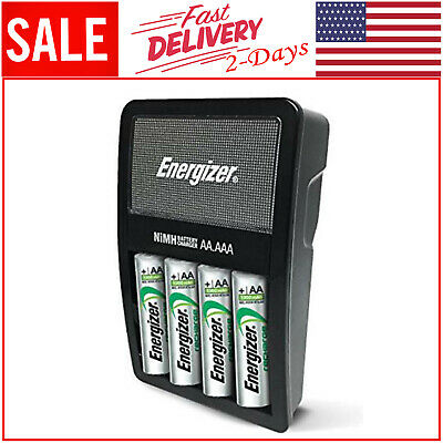 Energizer Battery Charger Rechargeable AA&AAA NiMH 4 Batteries Included New